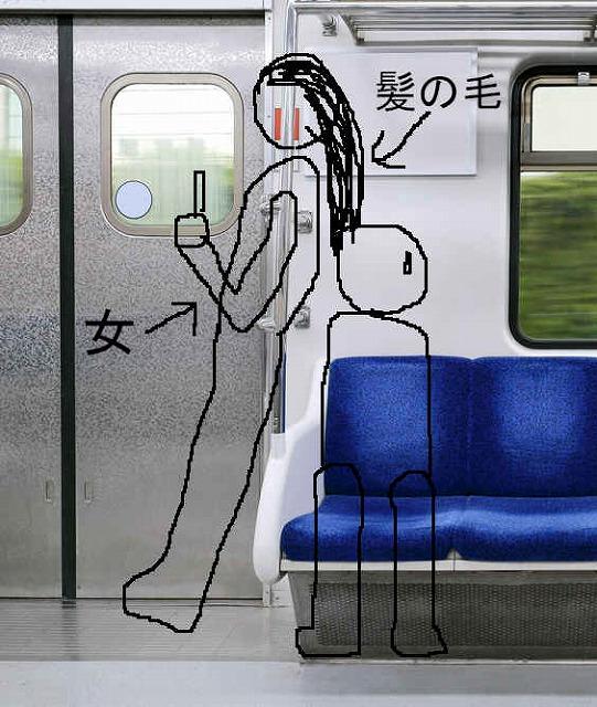 電車の仕切りに寄り掛かっている女