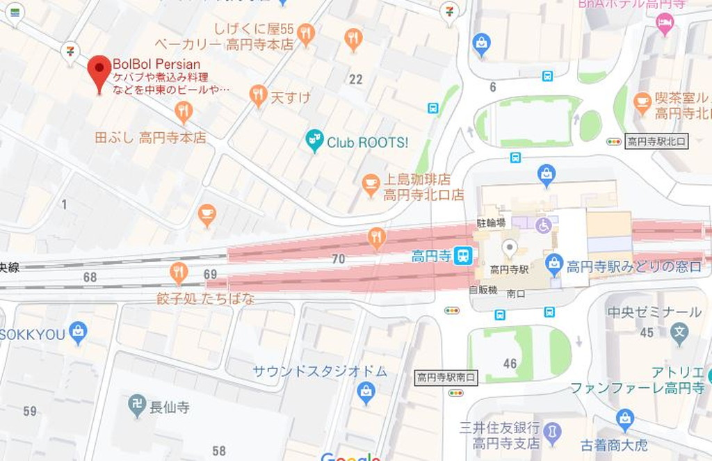 高円寺BolBol地図