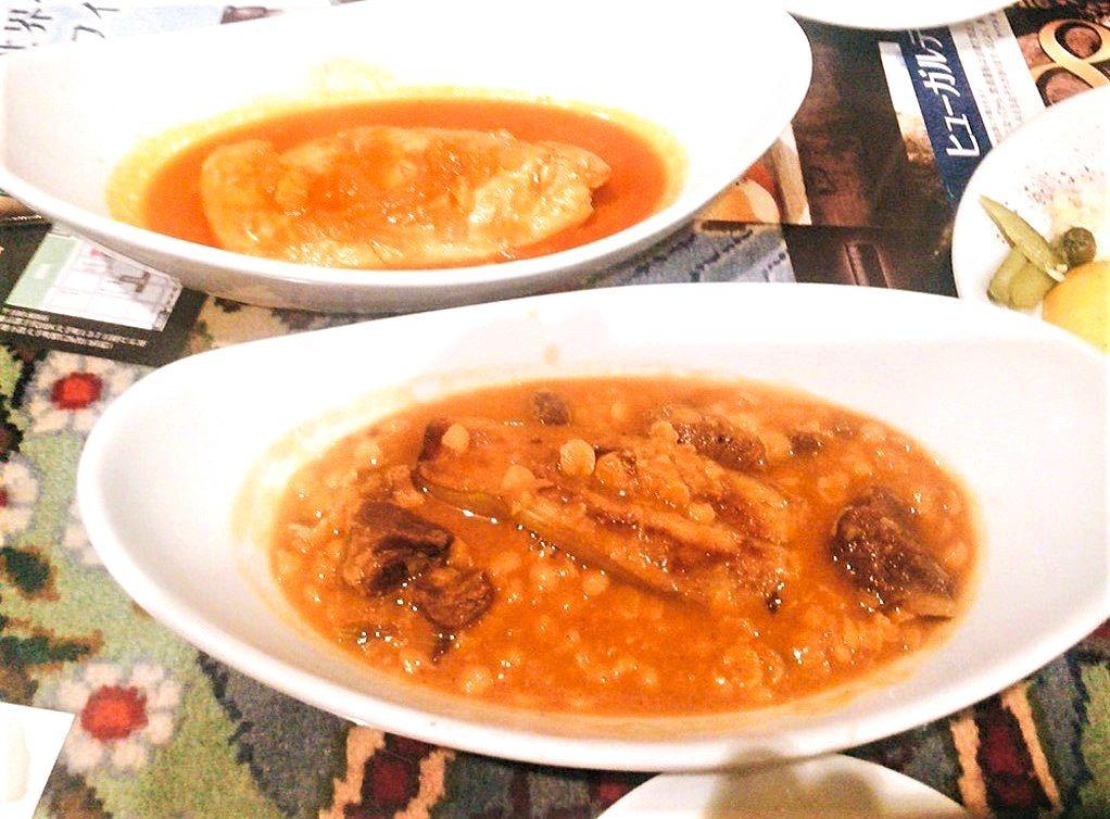 ゲイメというラム肉とレンズ豆のトマトソース煮込み