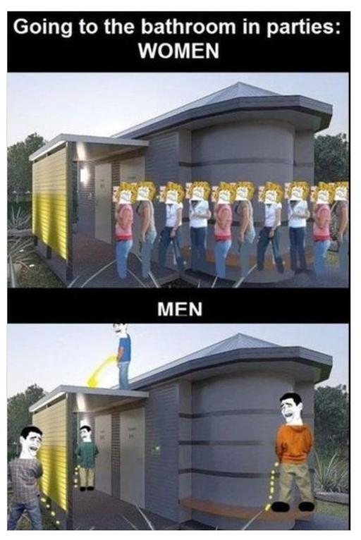 男女のトイレが混んでいた時