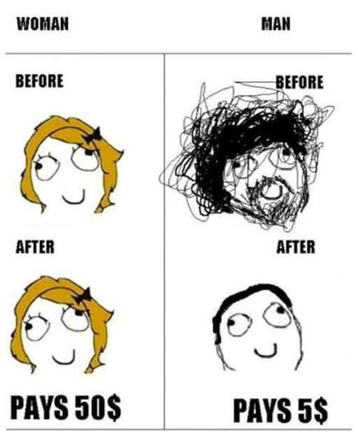 男女の髪の毛を切った後
