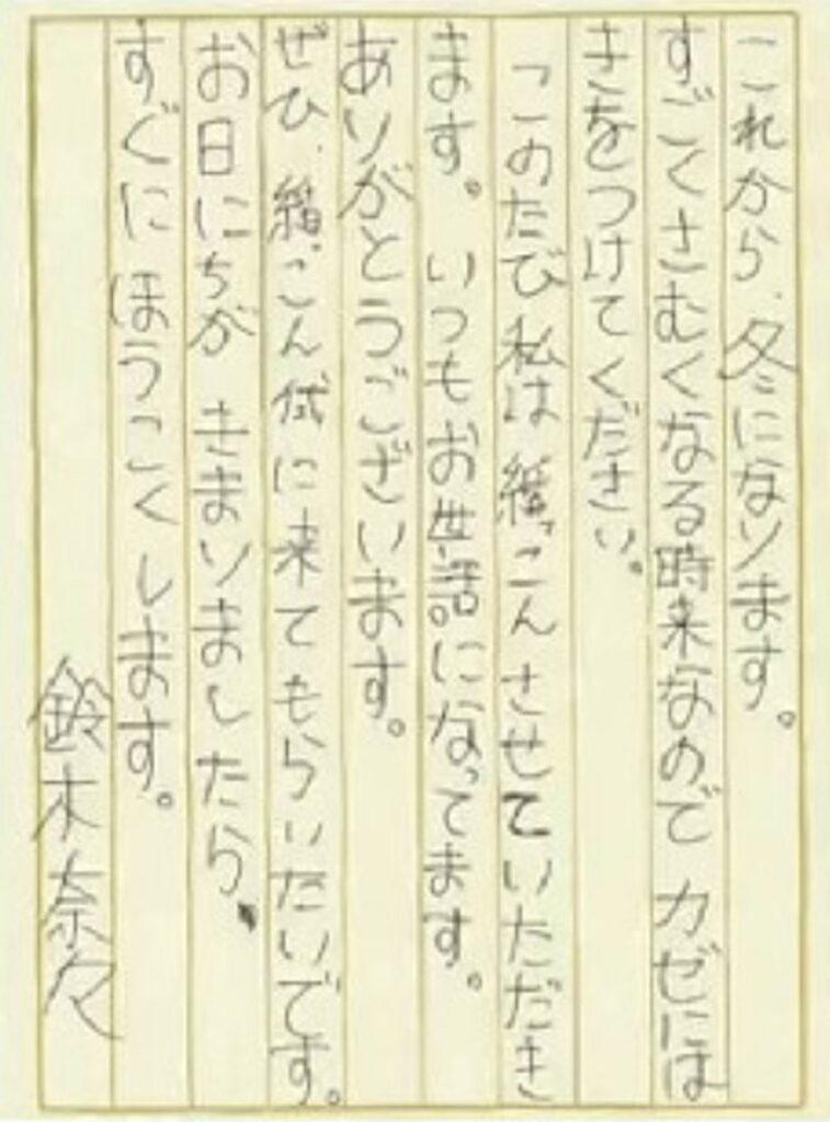 鈴木奈々の字